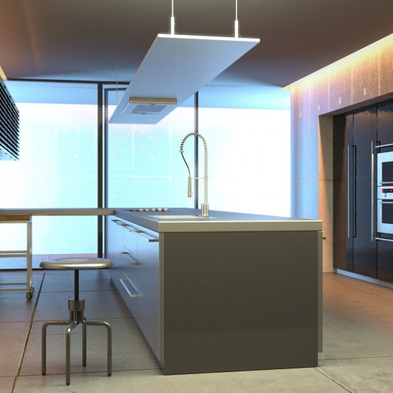 Modern steel and concrete kitchen